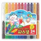 韓國 AMOS 蠟筆、粉彩、水彩 3合1顏色筆 (24色)